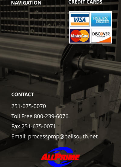 NAVIGATION CREDIT CARDS	 CONTACT 251-675-0070 Toll Free 800-239-6076 Fax 251-675-0071 Email: processpmp@bellsouth.net